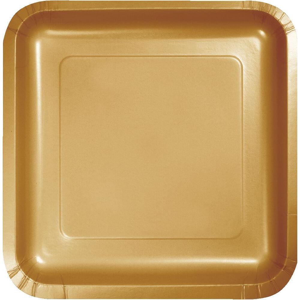Glittering Gold Paper Dinner Plates 9in 18ct