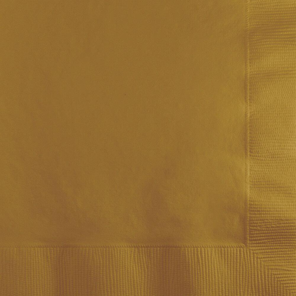 Glittering Gold Beverage Napkins 3Ply 50ct