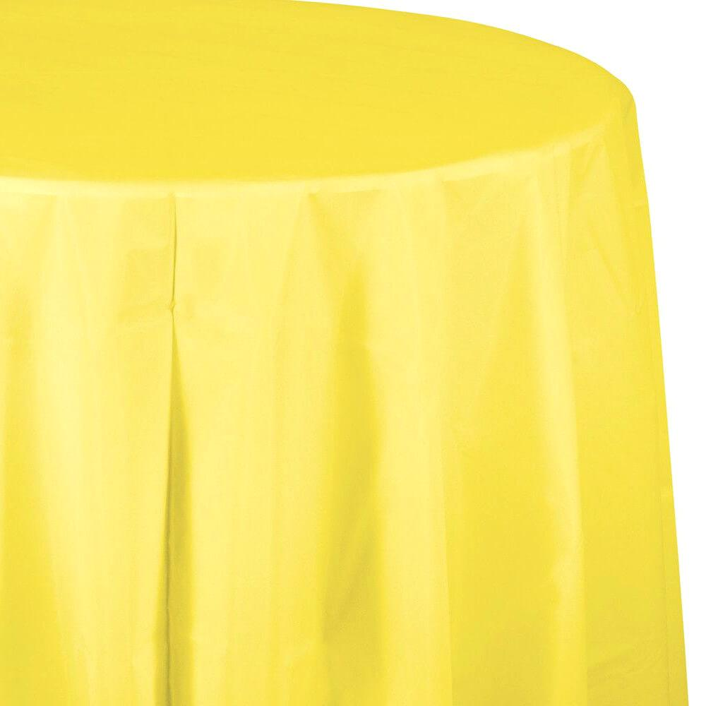 Plastic Round Tablecover 82in, Mimosa Yellow