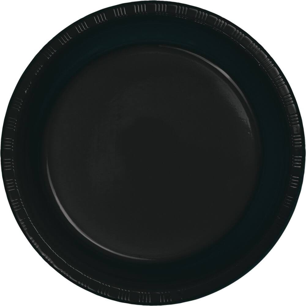 Black Velvet Plastic Dinner Plates 9in 20ct