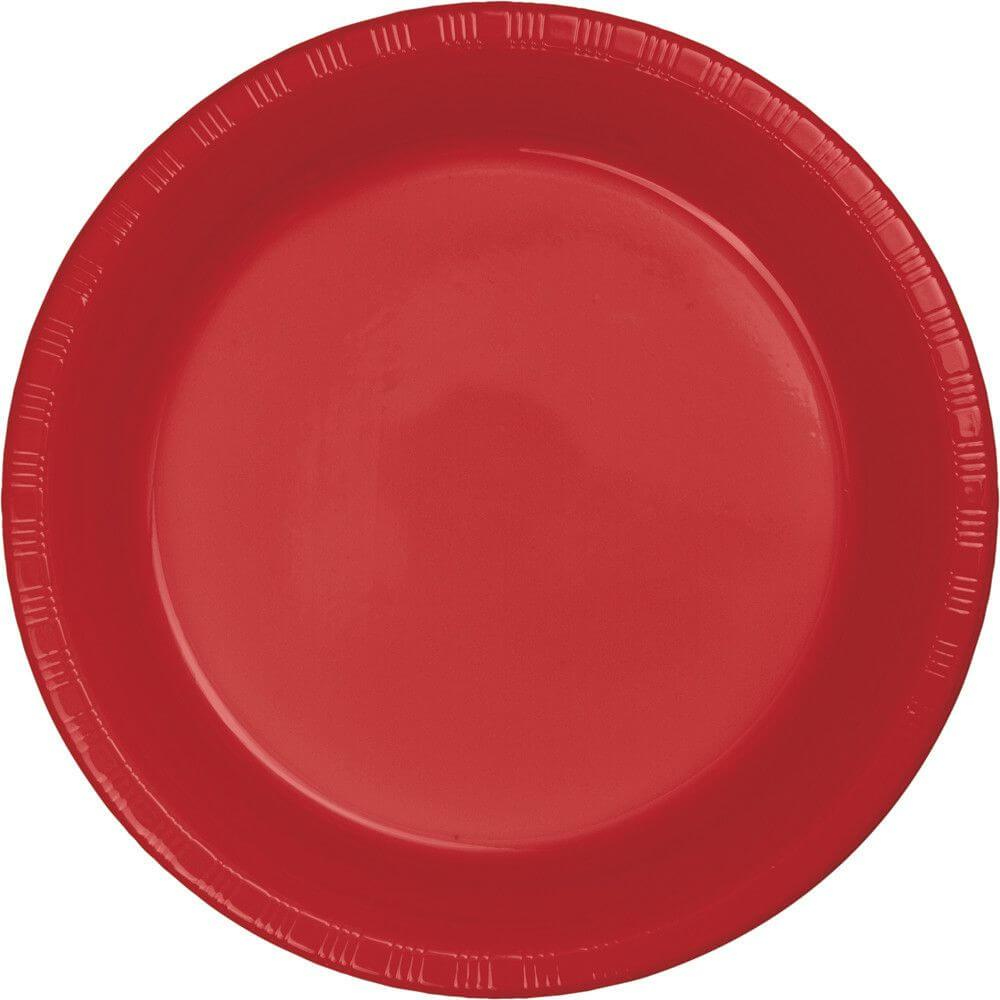 Classic Red Plastic Dinner Plates 9in 20ct