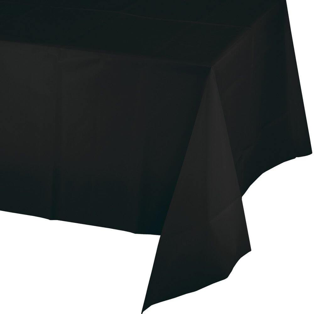 Black Velvet Plastic Table Cover 54in x 108in