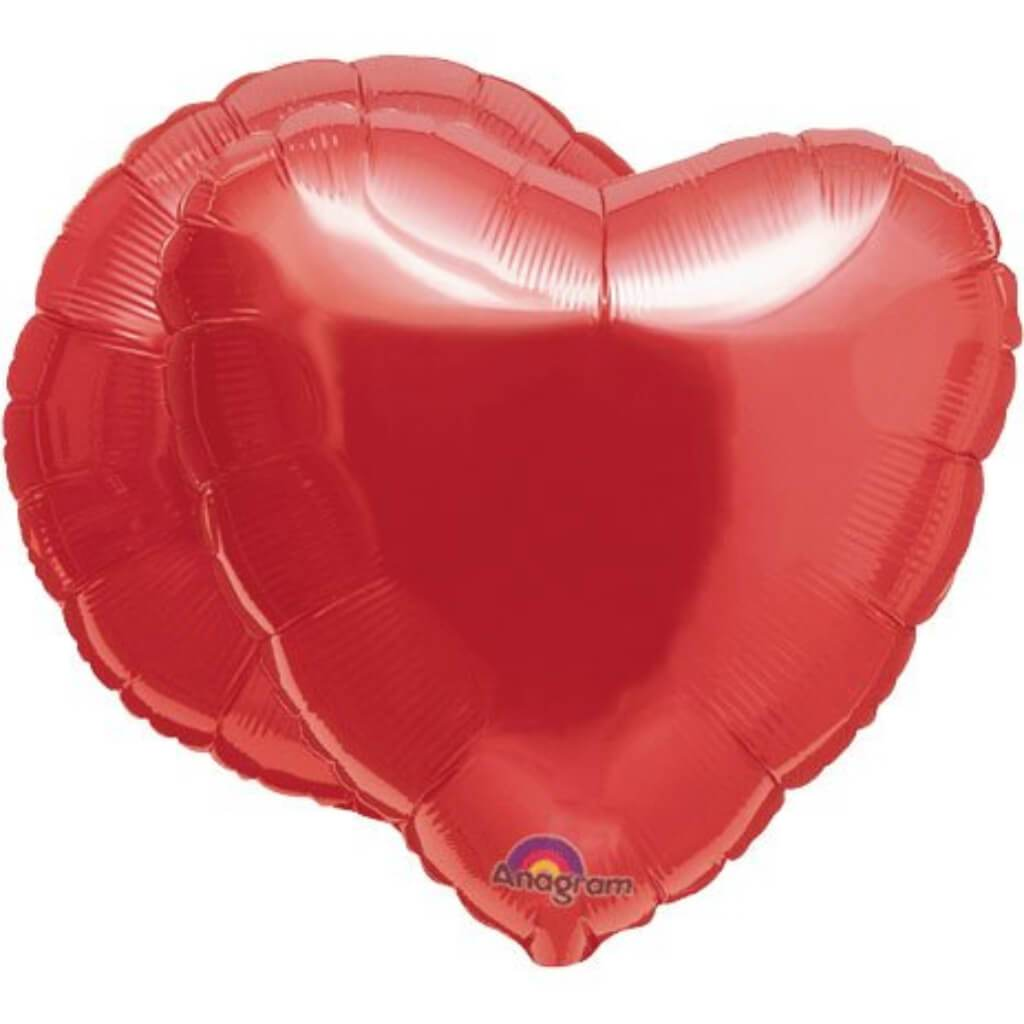 Balloon Bubble Ruby Red Heart 18in Red