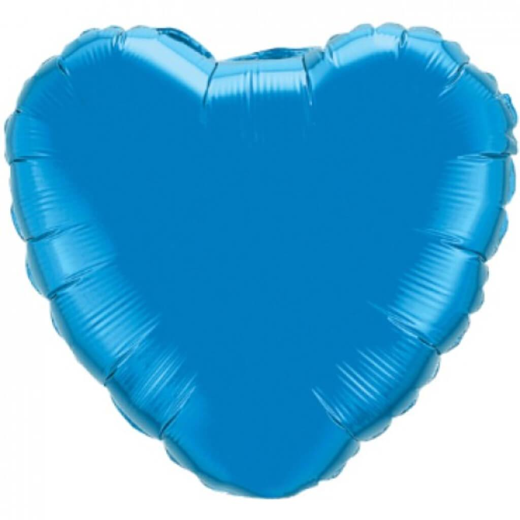 Sapphire Blue Heart Bubble Balloon 18in
