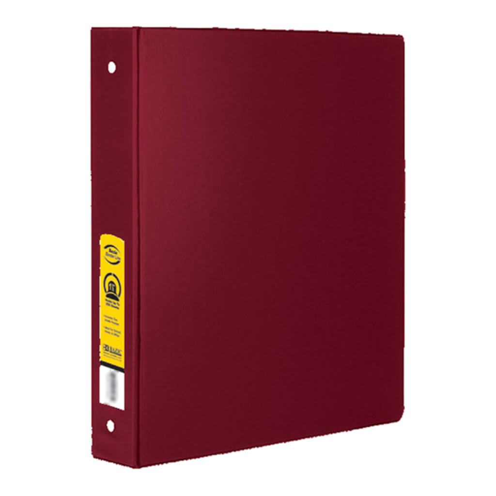 3 Ring Binder with 2 Pockets Burgundy 1.5in
