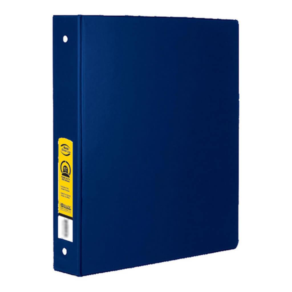 3 Ring Binder with 2 Pockets Blue 1.5in