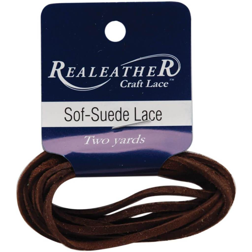 Realeather Crafts Sof-Suede Lace .094in x 2yd Packaged Café