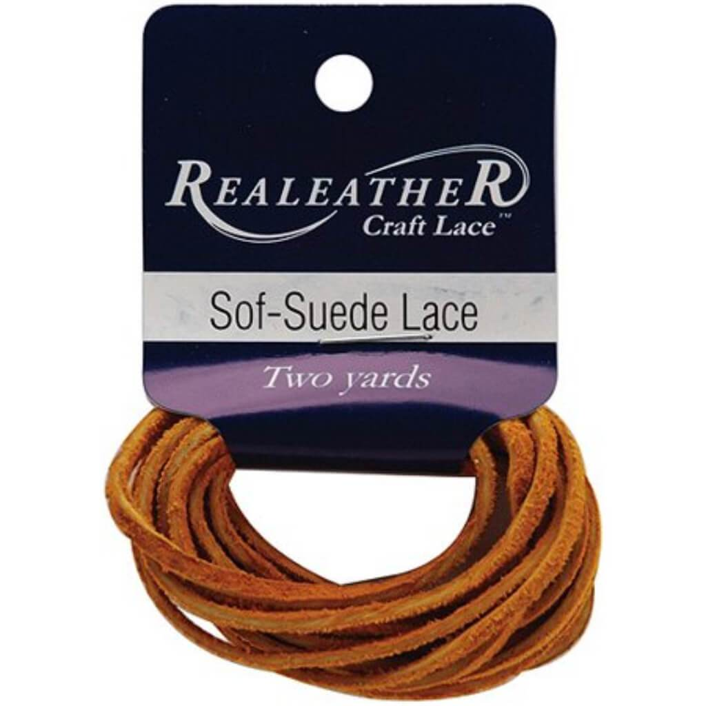 Realeather Crafts Sof-Suede Lace .094in x 2yd Packaged Gold Nugget