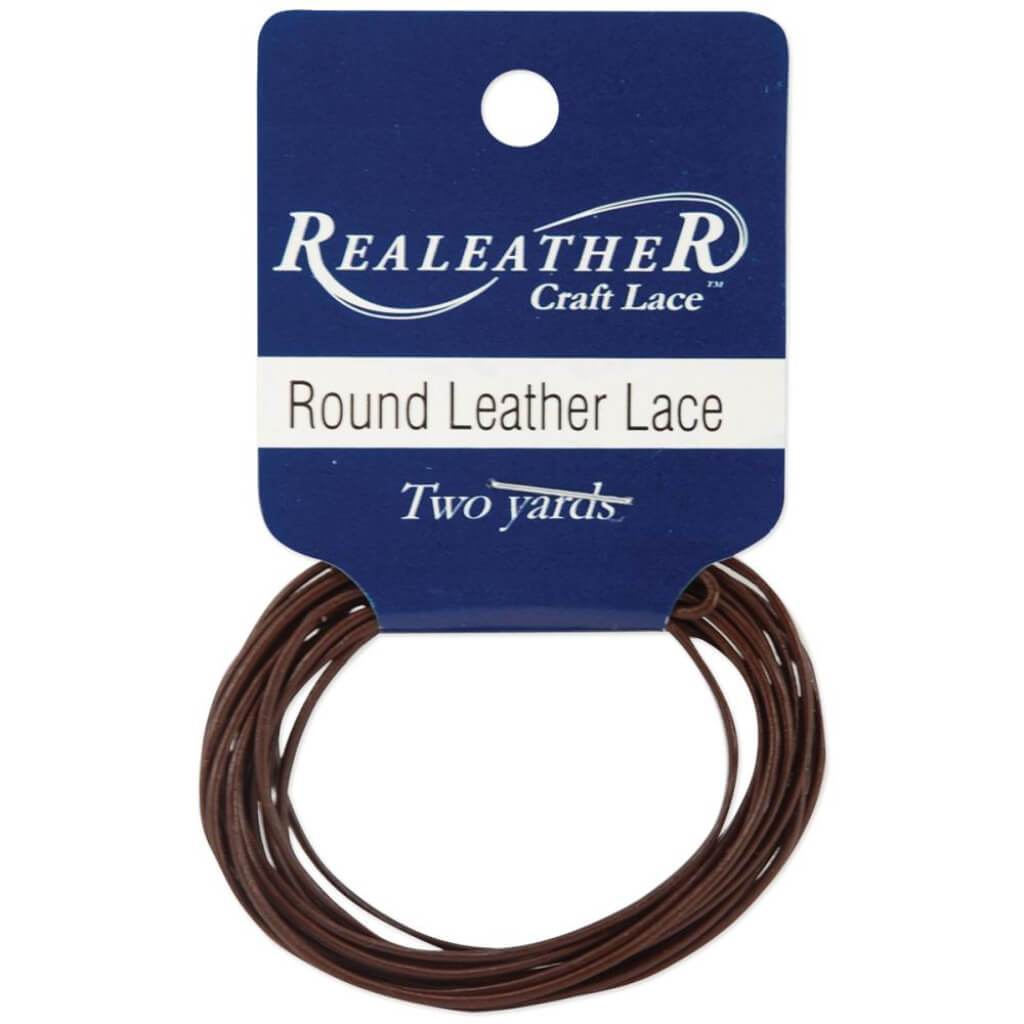 Realeather Crafts Round Leather Lace 1mm x 2yd Packaged Brown