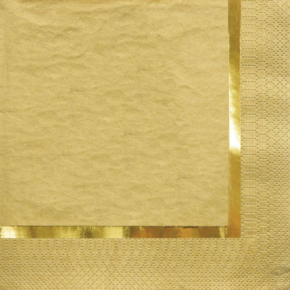 Luncheon Napkins 3ply 16ct With Foil Stamp Glitz Gold