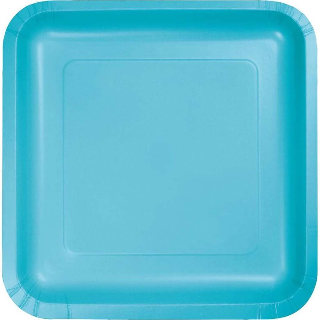 Bermuda Blue Paper Plates Square 8in 18ct