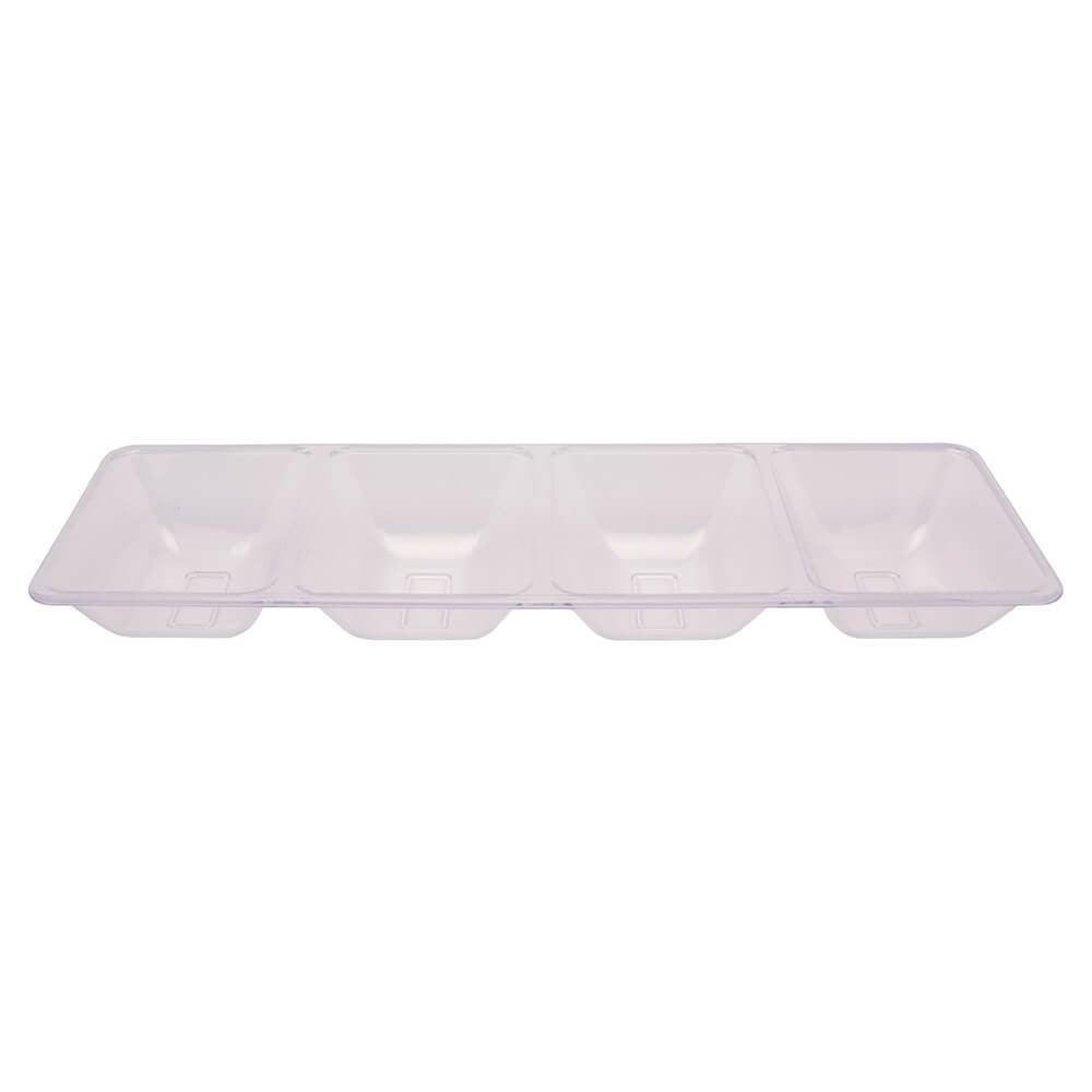 4 Compartment Tray 16in, Clear