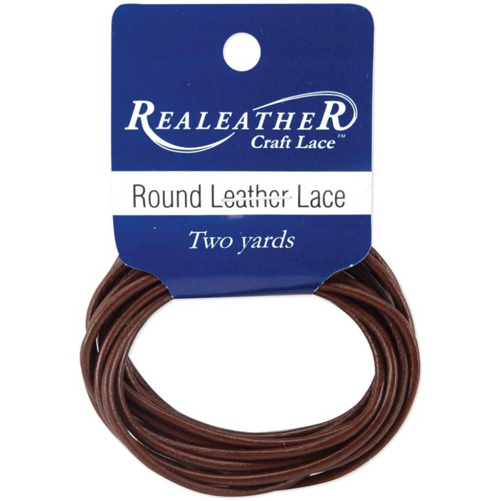 Round Leather Lace 2mm Carded 2 Yards-Brown