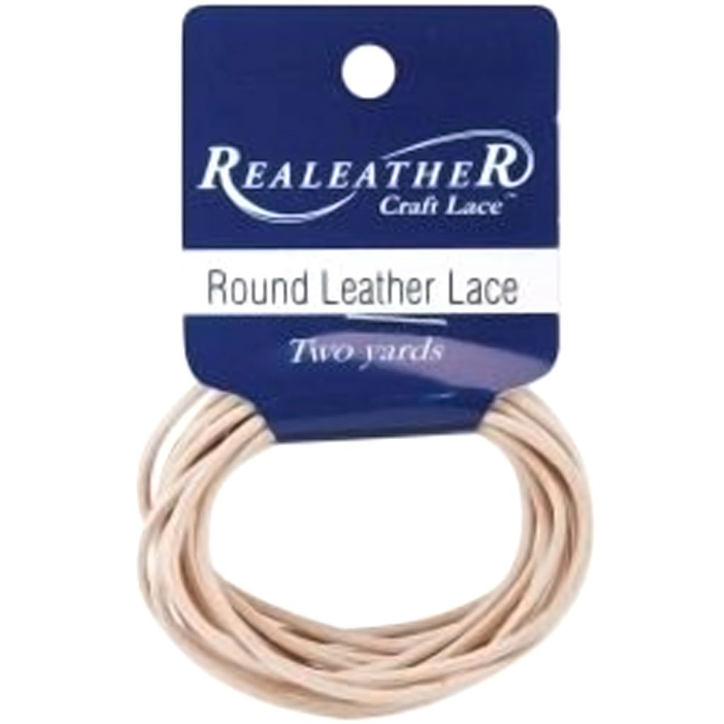 Round Leather Lace 2mm Carded 2 Yards-Natural