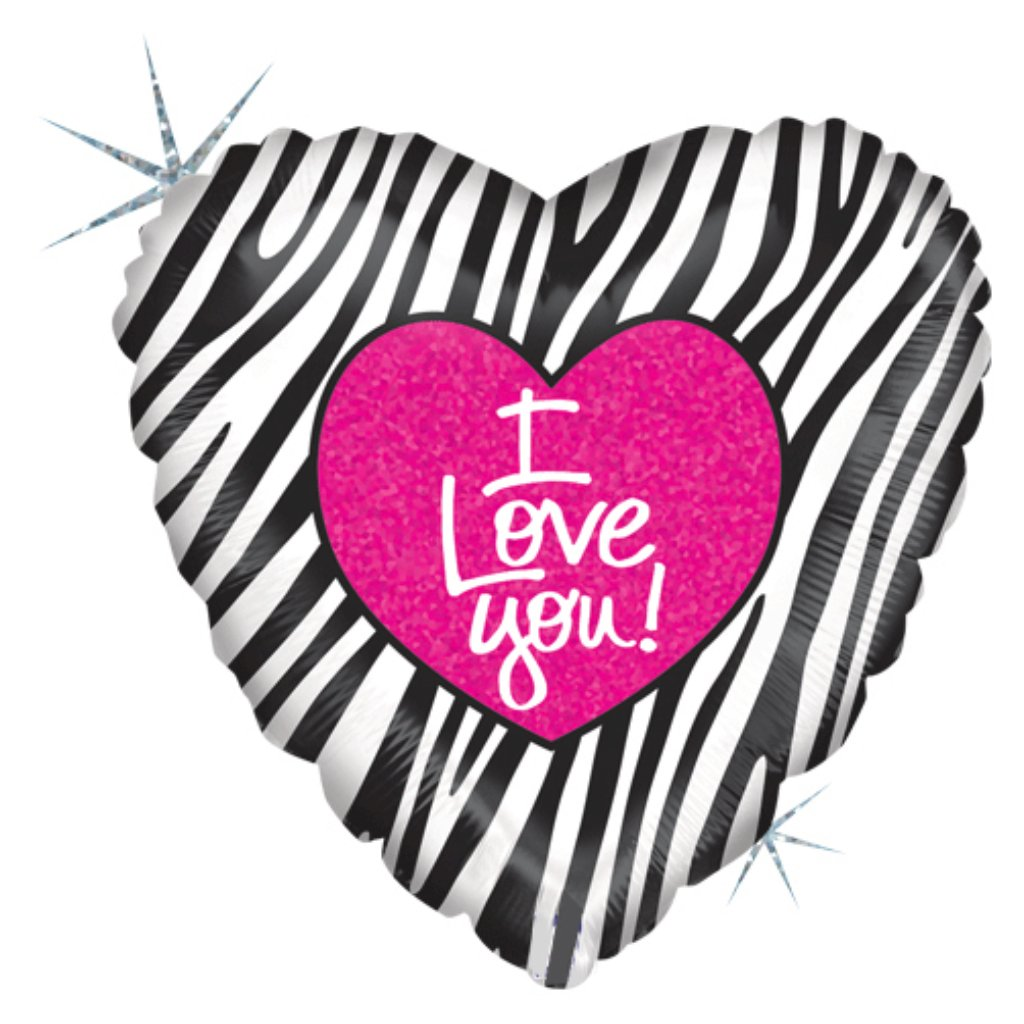 I Love You Zebra Heart Holographic Foil Balloon 18in