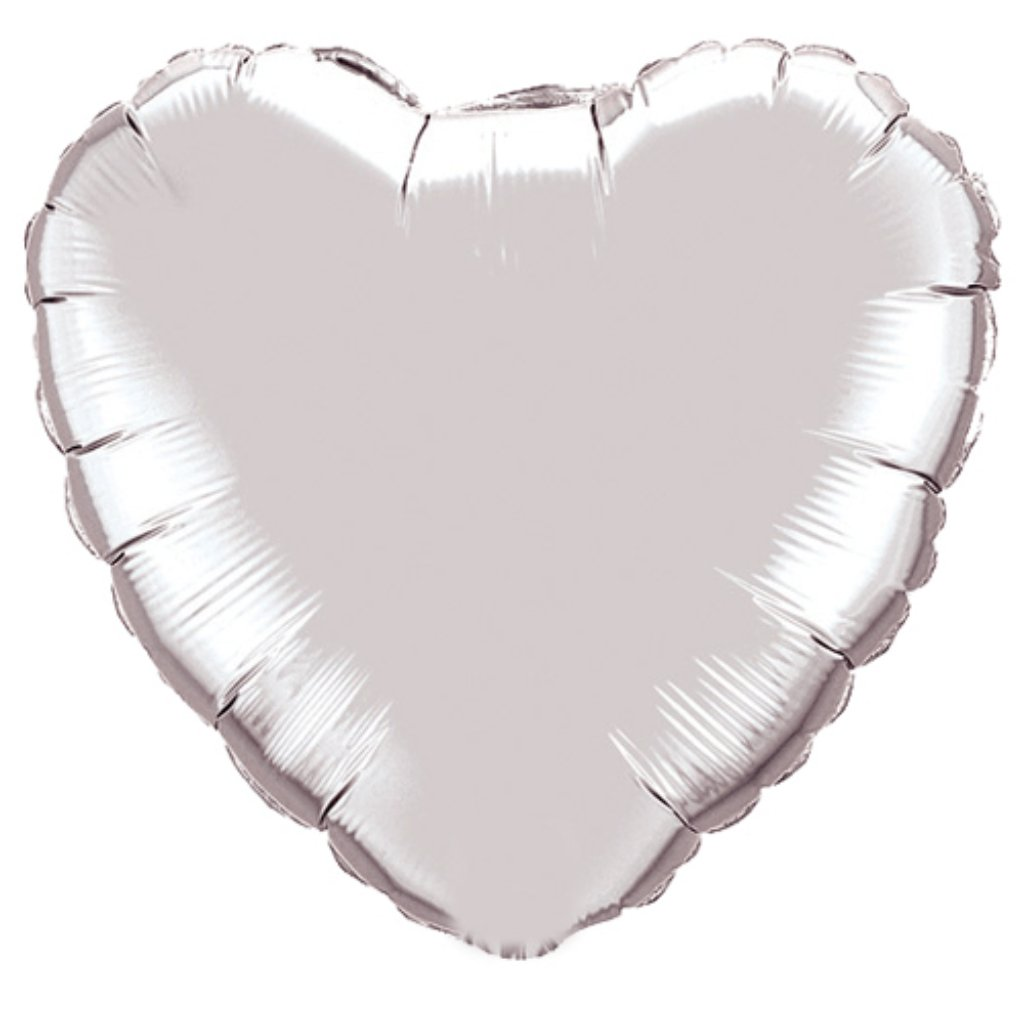 Foil Balloon Heart Silver 18in