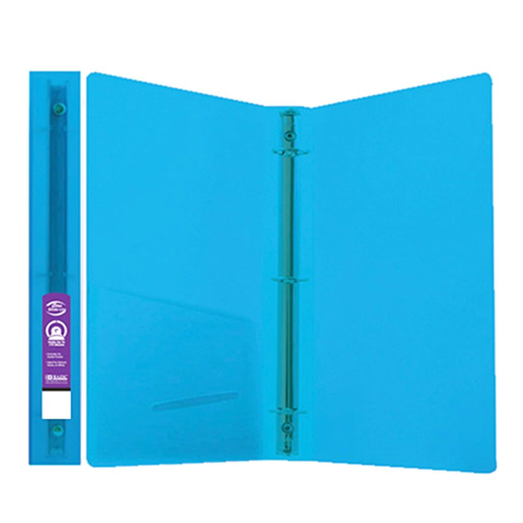 3 Ring Binder with 2 Pocket Glitter Blue 1in