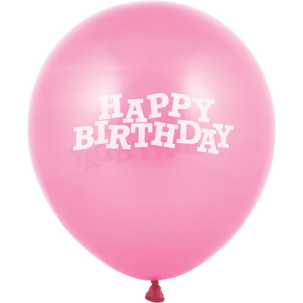 Happy Birthday Latex Balloons 12in, Pink