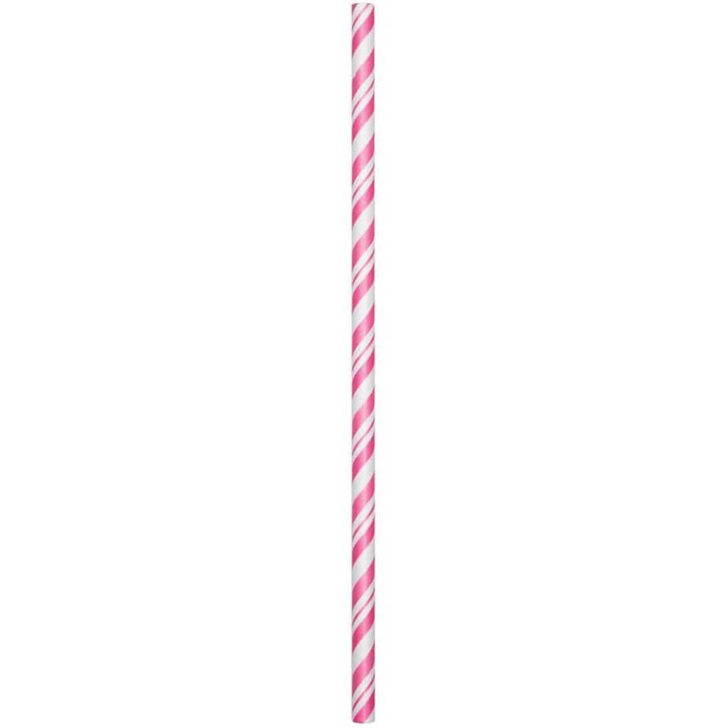 Paper Straws Stripe 24ct, Candy Pink