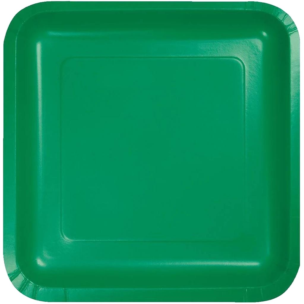 Emerald Green Paper Lunch Plates 7in 18ct