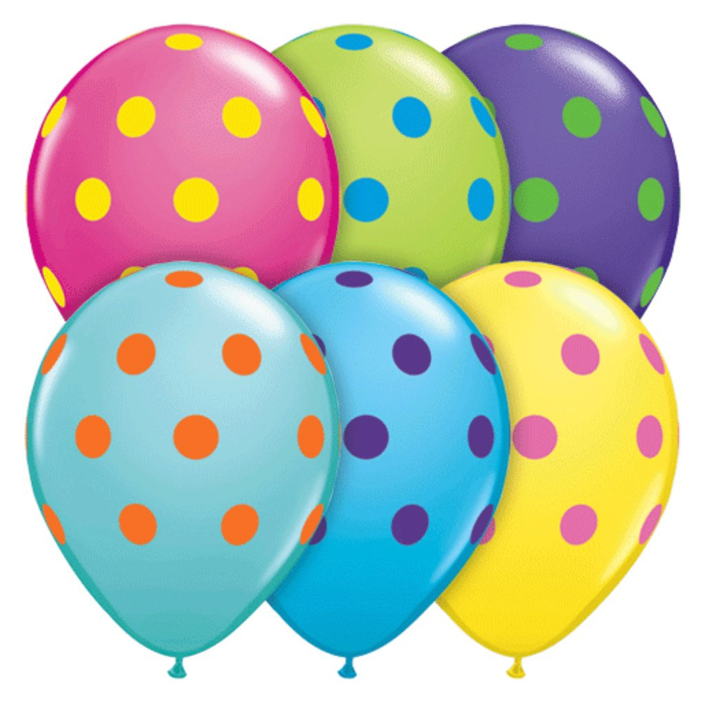 Big Dots Colorful Asst Latex Balloon 11in