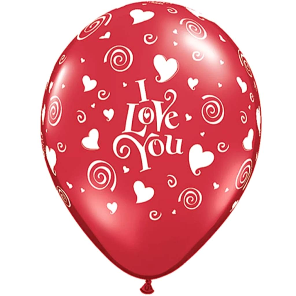 I Love You Swirling Heart Latex Balloon 11in