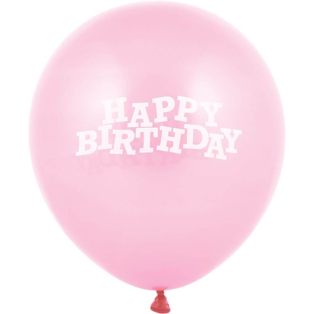 Happy Birthday Latex Balloon 12in, Classic Pink