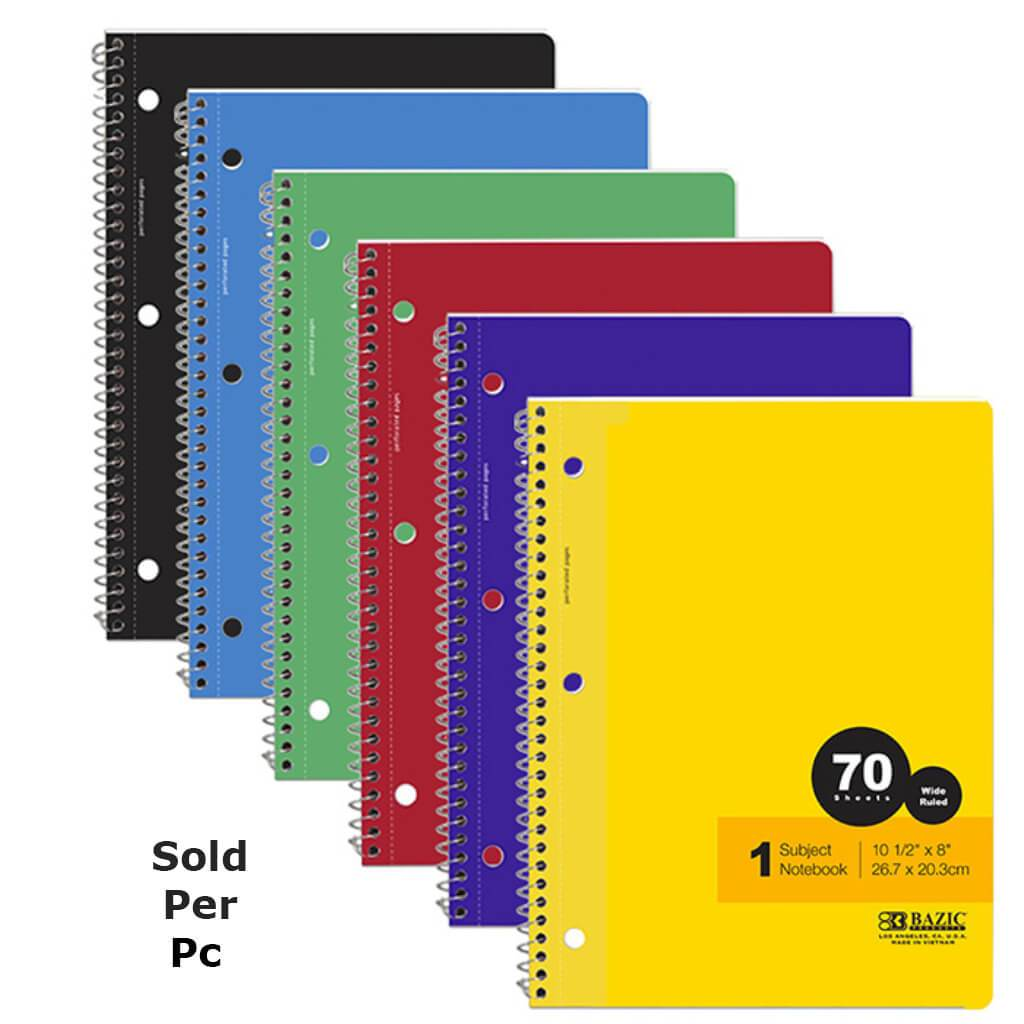 1 Subject Notebook Spiral Wide Ruled 70 Sheets