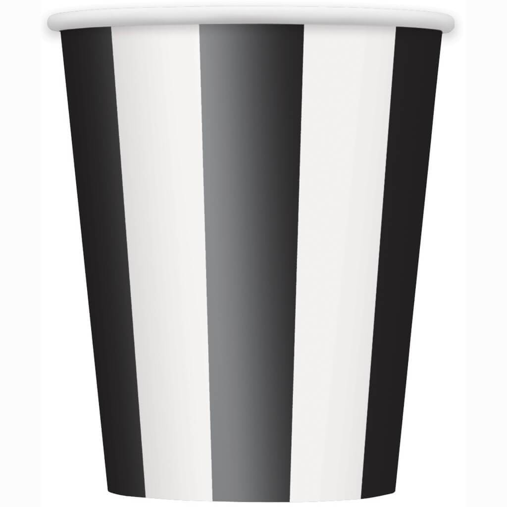 Midnight Black Stripes 12oz Paper Cups , 6ct