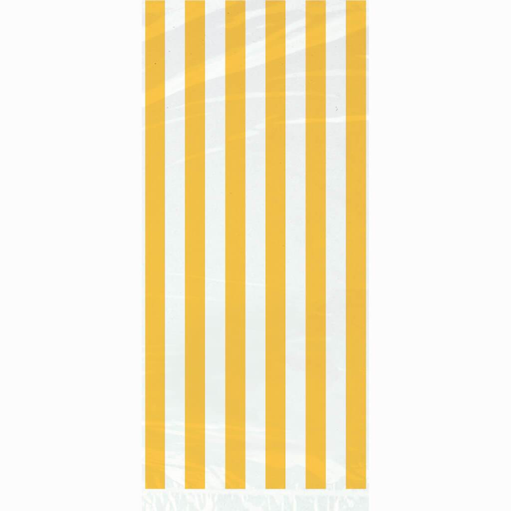 Cellophane Bags 20ct, Sunflower Yellow Stripes