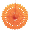 Pumpkin Orange Solid Tissue Paper Fan 16in