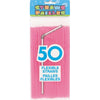 Neon Pink Flex Straws, 50ct