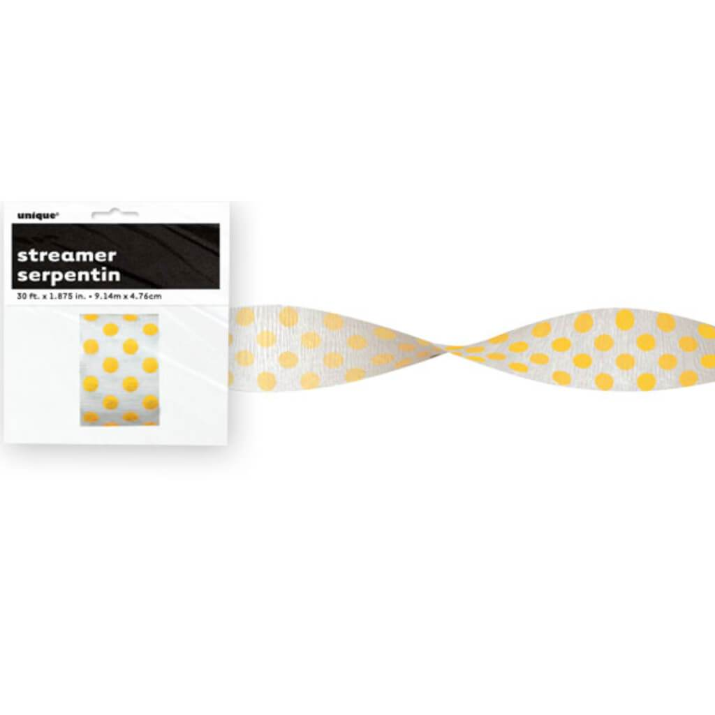 Crepe Streamer 30ft, Sunflower Yellow Dots