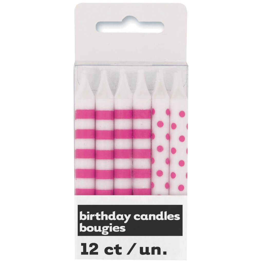 Birthday Candles 12ct, Hot Pink Stripes & Dots