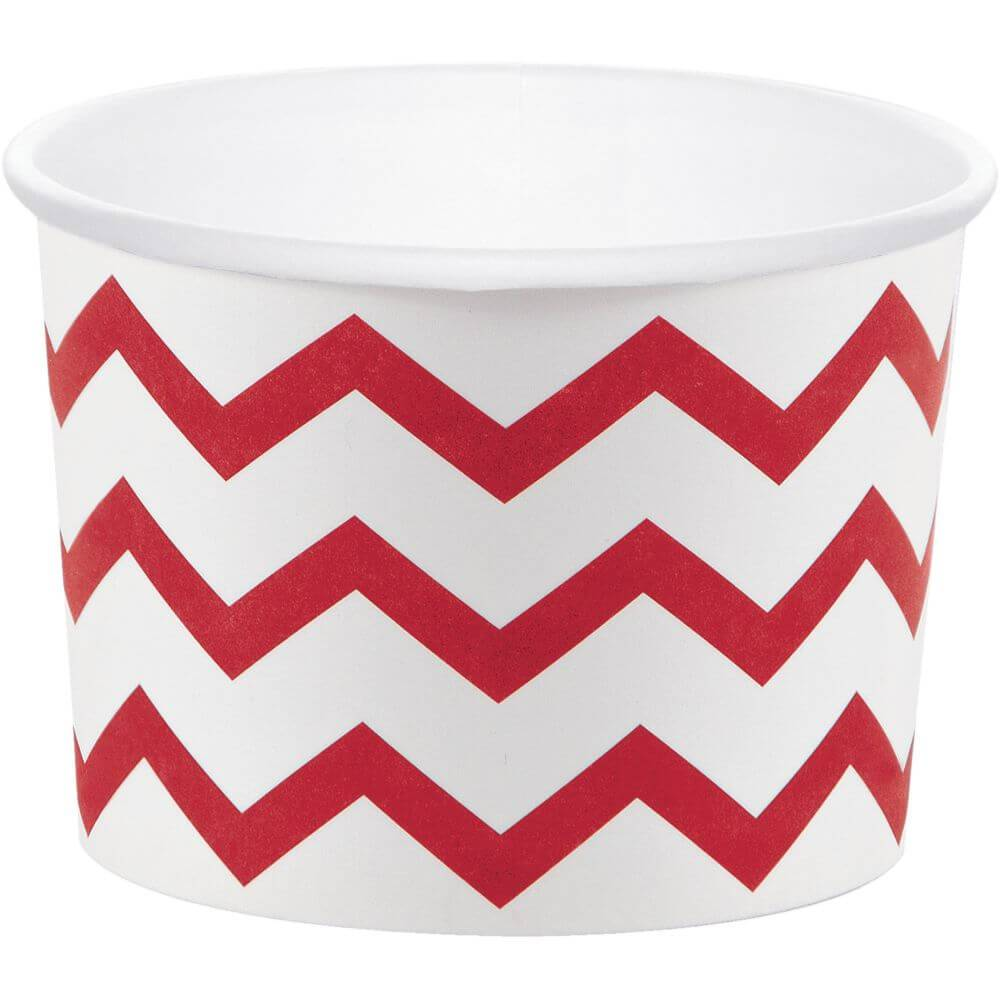 Chevron Red Treat Cup 9oz 6ct