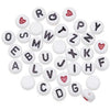Acrylic Alphabet Beads Round White with Black Letters 7mm 250 pcs
