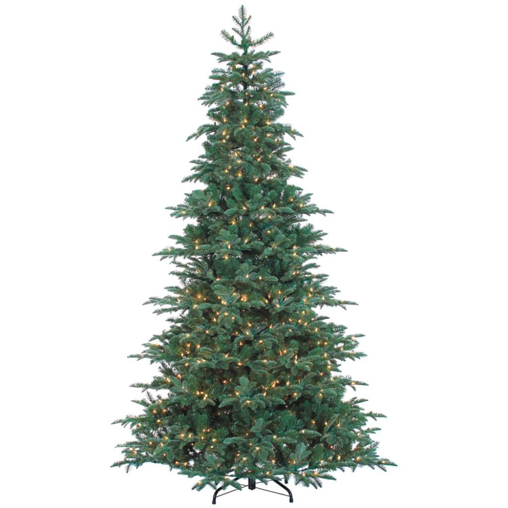 Blue Spruce Pine(PE) Tree x2691 w/1200 Smart Clear Lights on Metal Stand