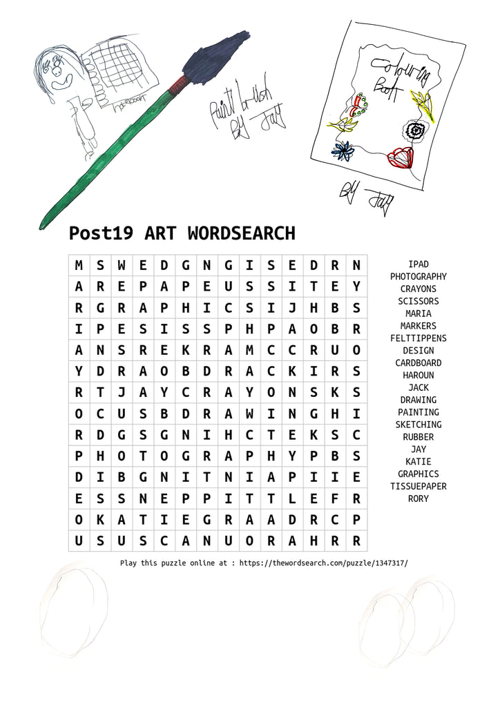 Post19 Art Zoom Group's Wordsearch