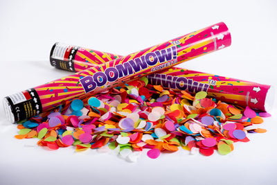 Colourful Round Confetti cannon launcher/popper V.2 -Multicoloured