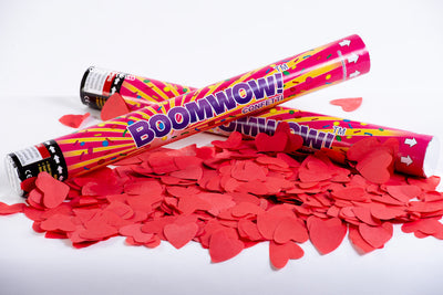 Red Paper Hearts Confetti cannon launcher/popper