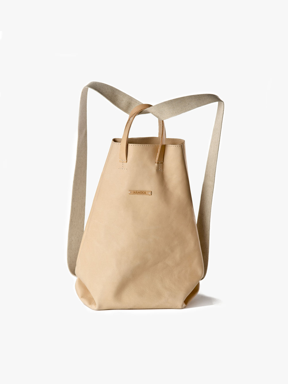 Moire shopper in natural leather handcrafted in Berlin by Haenska