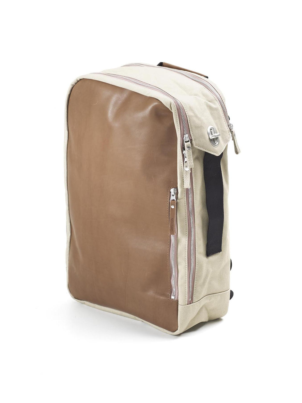 Brown leather and canvas characterize the design of this flexible Qwstion backpack