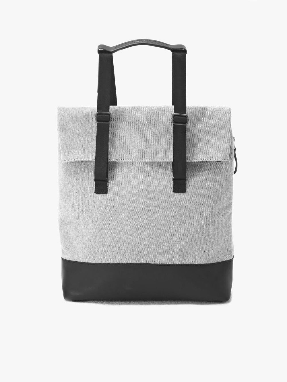 Qwstion Day Tote in black vegetable-tanned cowhide and organic cotton
