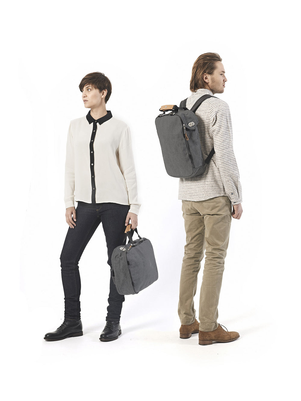 Compact and minimalist backpack in Washed Grey look