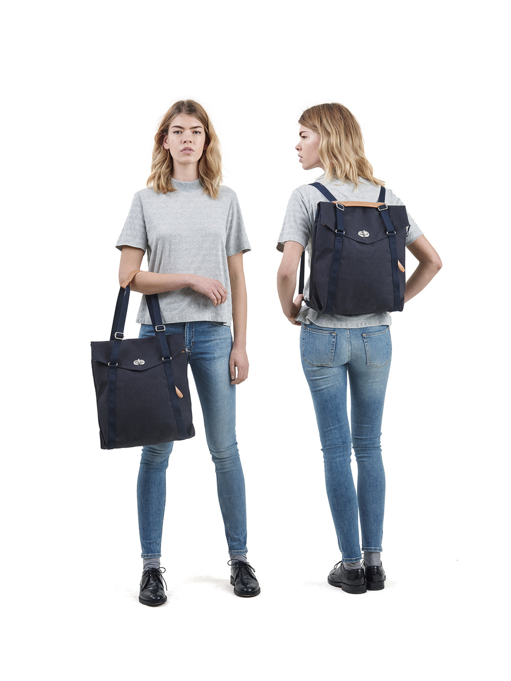 Qwstion Tote Organic Navy is both a tote and a backpack
