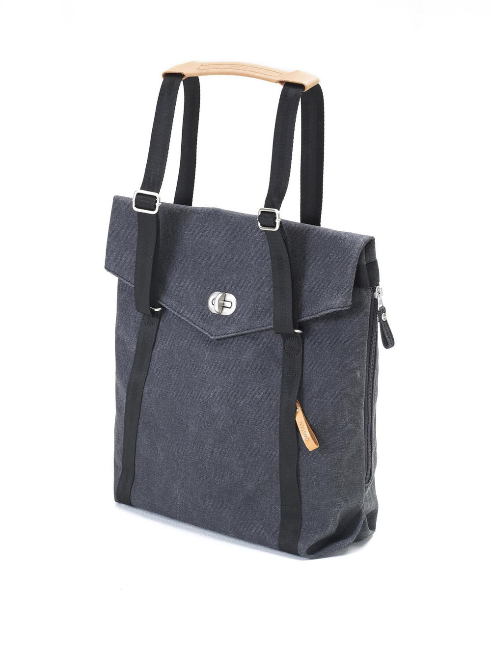 twist lock to access the main compartment of Qwstion Tote Washed Black
