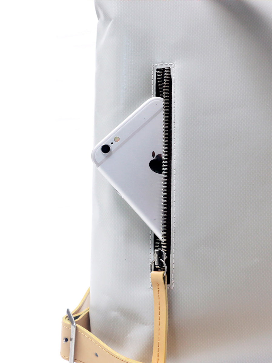"Pocket on the back of Handy ""Sule"" backpack for a safe keeping of I-phone and valuables."