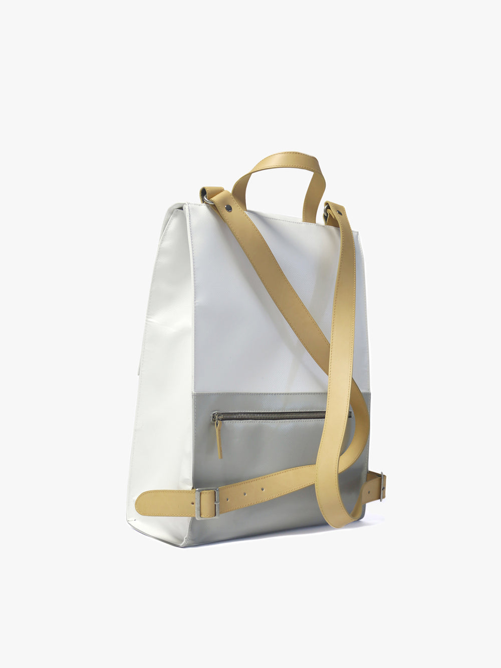 Urban laptop backpack in white and grey combinations of recycled tarps