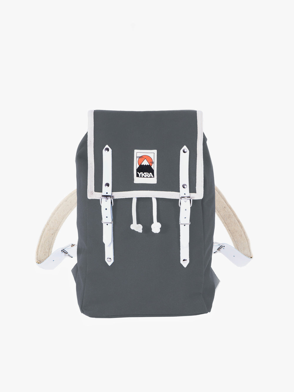 YKRA backpack with white leather straps. Designed and handcrafted in Budapest.