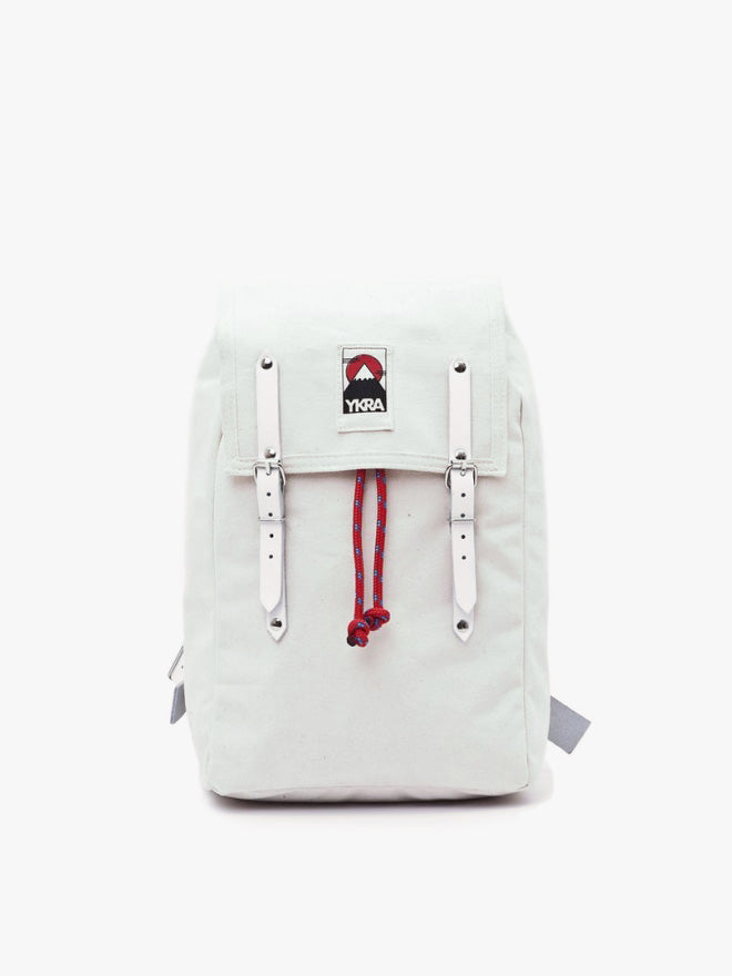 YKRA Matra Mini laptop backpack. White canvas cotton and leather strap.